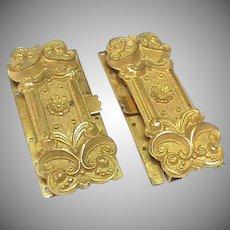 Matching Pair of Wide Antique Georgian gilt metal Clasps
