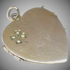 LARGE Antique Silver Seed Pearl HEART Locket Pendant c1900