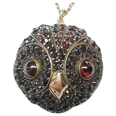 Antique Victorian Garnet OWL Pendant Necklace
