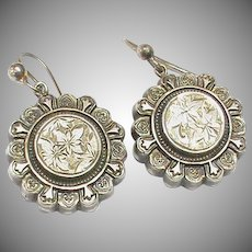 Antique Victorian 1881 Sterling Silver Earrings