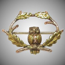 Quality Vintage 9k 9ct Two Color Gold OWL Brooch