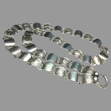 Antique Victorian Sterling Silver Collar Book Chain Necklace
