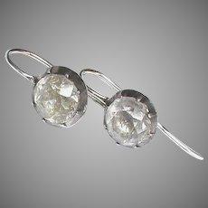 Antique Georgian Sterling Silver & Paste Earrings