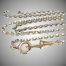 Antique French c1900 Long Silver 800-900 Gold vermeil Guard Chain Necklace