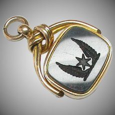 Antique Victorian 1891 18k 18ct Gold Winged Intaglio Agate Swivel Fob Seal