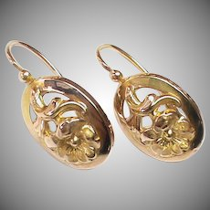 Antique French 19th Century 18k 18ct Gold Earrings