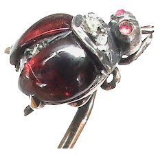 Antique Victorian c1900 French 18k 18ct Gold Garnet Diamond Ladybird Stickpin Sick Pin in box