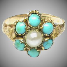 Tiny Antique Victorian 12k 12ct Gold Turquoise Pearl Ring for girl