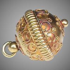 Antique Victorian c1900 15k 15ct Gold Ball Charm Fob
