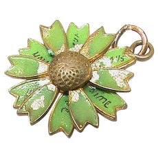 Antique Victorian c1900 Enamel Daisy Charm -which moves