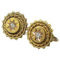 Antique Victorian 15k 15ct Gold Diamond Earrings