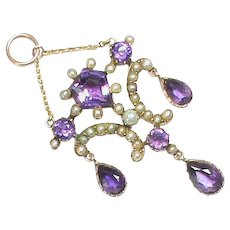 Antique Victorian 9k 9ct Gold Amethyst Seed Pearl Heart Pendant