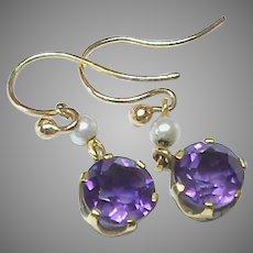 Antique 9k 9ct Gold Seed Pearl & Amethyst Earrings