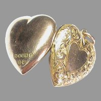 Antique Edwardian 1903  9k 9ct Gold Heart Locket Pendant
