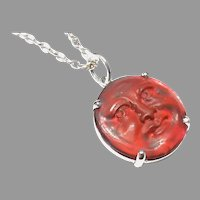 Antique c1900 Glass Cameo Man in the Moon Pendant on sterling silver chain
