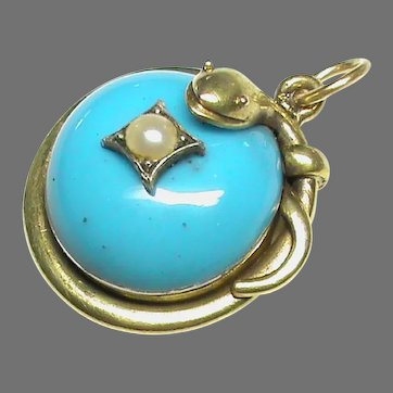 Antique Victorian 15k 15ct Gold Seed Pearl SNAKE Pendant
