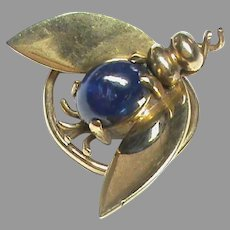Antique Edwardian 9k 9ct Gold Sapphire Fly / Bee Insect Lapel Pin Brooch
