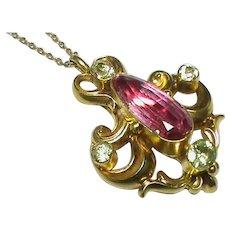 Antique Victorian 15k 15ct Gold Chrysolite / Chrysoberyl Pendant on 18k 18ct Chain