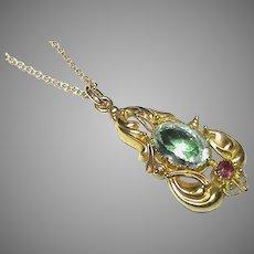 Antique Georgian 18k 18ct Gold Aquamarine & Ruby Gemstone Pendant Necklace