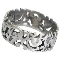Antique French Art Nouveau Pierced Silver 800-900 Wide Ring