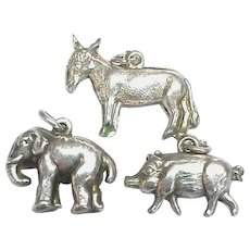 Vintage Sterling Silver Charms Elephant Pig & Donkey