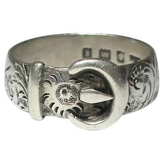 Large Antique Edwardian 1906 Sterling Silver Mans Buckle Ring