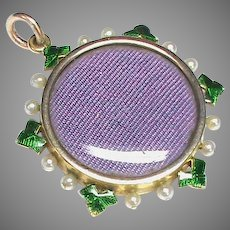 Antique Victorian c1900 15k 15ct Gold Enamel Seed Pearl Double Sided Locket Pendant
