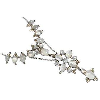 Vintage Sterling Silver Moonstone Necklace
