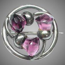 Vintage Charles Horner Sterling Silver Thistle Brooch