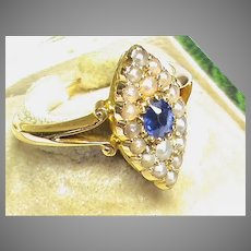 Antique Victorian 18k 18ct Gold Seed Pearl Sapphire Marquis Ring