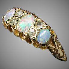 Antique Edwardian 1909 18k 18ct Gold Opal Diamond Ring in box