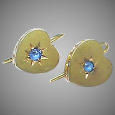 Antique Victorian 9k 9ct Gold Paste small Heart Earrings