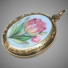 Antique Victorian 9k 9ct Gold Back & Front Enamel Flower Locket Pendant
