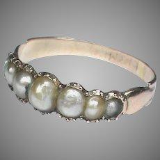 Antique Georgian 9k 9ct Gold Natural Pearl Ring