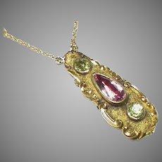Antique Victorian c1840 18k 18ct Gold Chrysolite Pendant Necklace