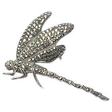 Vintage Sterling Silver Marcasite Dragonfly Brooch