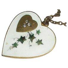 Antique Victorian Large Enamel Paste Heart Pendant Necklace