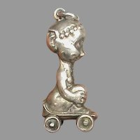 Antique Edwardian Sterling Silver Pixie on skateboard Charm or Pendant