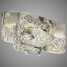 Antique Victorian 1856 Sterling Silver Etched Buckle Bracelet by George Unite