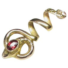 Antique Victorian c1900 18k 18ct Gold Garnet SNAKE Pendant
