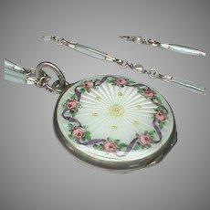 Antique Meyle & Mayer Edwardian Sterling Silver Enamel Locket & Seed Pearl Chain Necklace in box