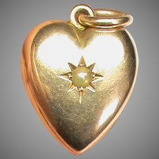 Antique Victorian 15k 15ct Gold Seed Pearl Heart Locket Pendant