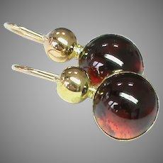 Antique Victorian 15k 15ct Gold Garnet Earrings