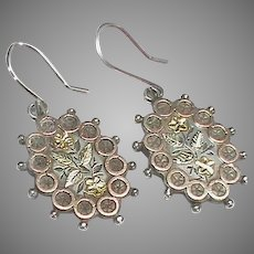 Antique Victorian Sterling Silver Gold Earrings