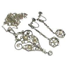 Art Deco Silver Paste & faux Pearl Earrings & Pendant Necklace Set