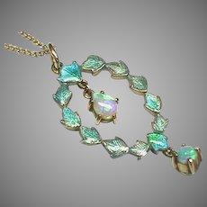 Antique CHILD & CHILD Sterling Silver Enamel Opal Pendant on 9k gold chain