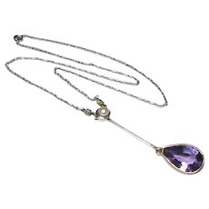 Antique Edwardian Platinum & 15k 15ct Gold Cultured Pearl, Emerald & Amethyst Pendant Necklace