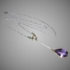 Antique Edwardian Platinum & 15k 15ct Gold Cultured Pearl, Emerald & Amethyst Pendant Necklace