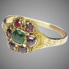 Antique Victorian 12k 12ct Gold Garnet & Emerald Ring