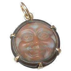 Antique Victorian Man in the Moon SAPHIRET paste Pendant